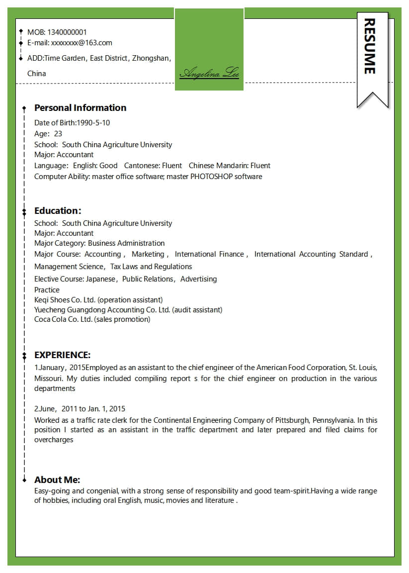 green creative resume docx - writer templates