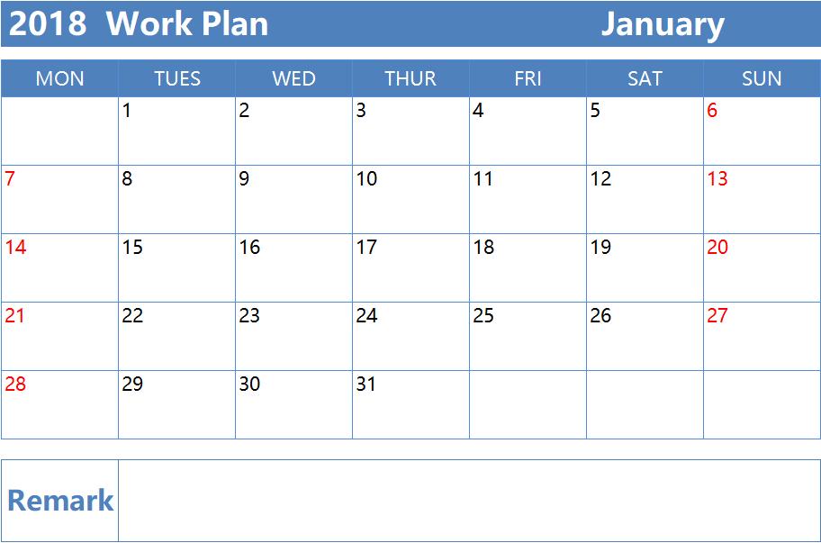 (Memo) Monthly Work Plan in 2018.xlsx