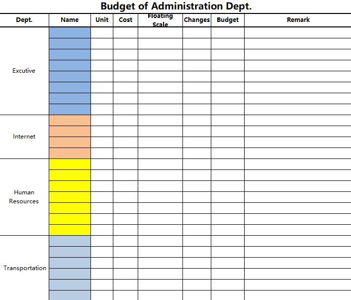 [Finance]Budget of Administration Dept.xlsx