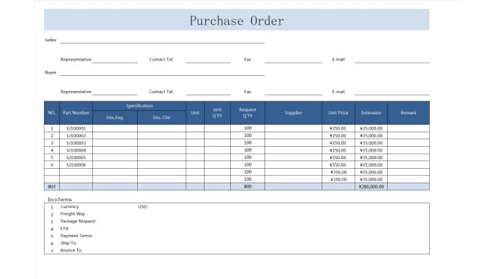 Purchase Order 2.xlsx