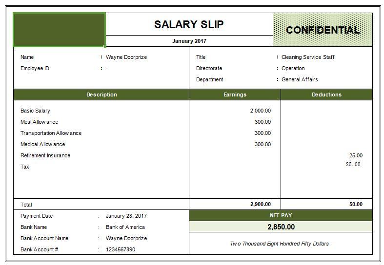 salary slip template xlsx - spreadsheet templates